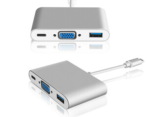 Adapter MacBook z USB typ C na VGA/USB 3.0/USB-C (żeńskie)